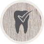 Animated tooth with checkmark icon